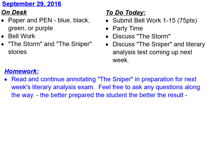 Daily Lesson Plan and Homework