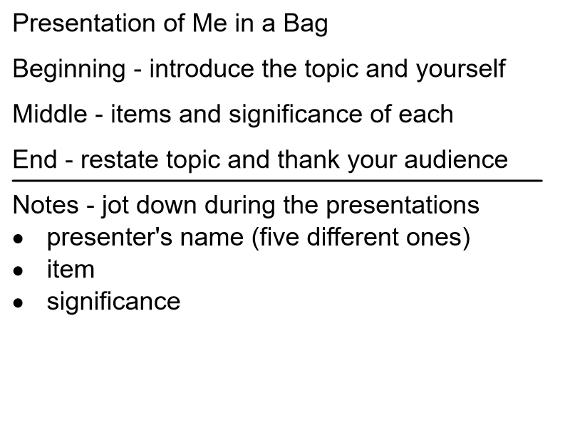 Me in a Bag Presentation and Note Guide
