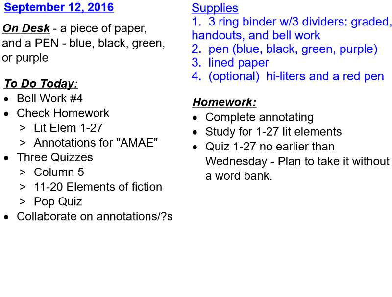 Daily Plan and Homework