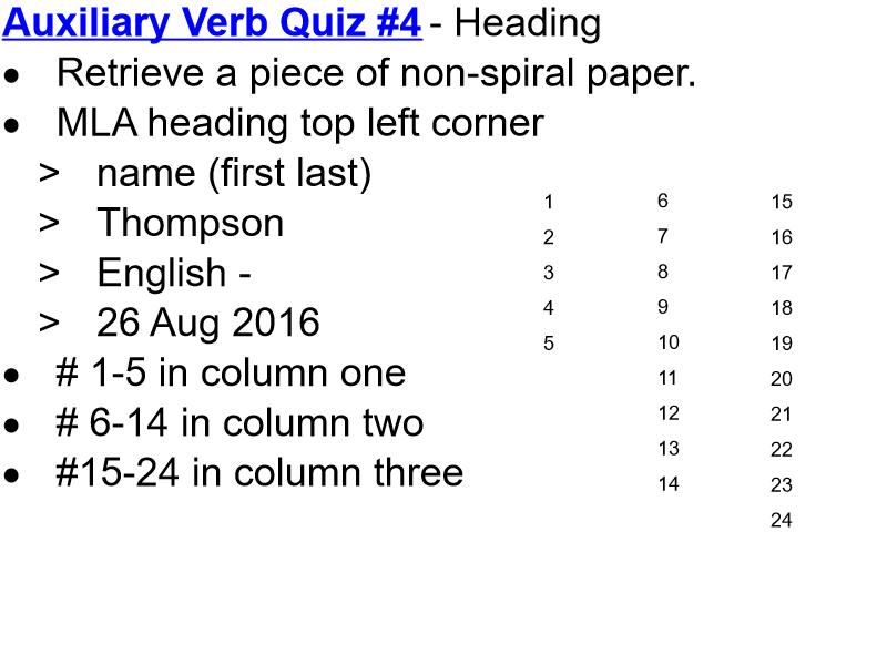 Quiz Taking Format