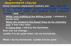 Dependent Clause Phrase Beginning
